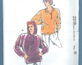 1992 Misses' Pullover Polo Pullover Shirt With Hood by Kerstin Martensson  Size XS,S,M,L,XL - Vintage Kwik Sew Sewing Pattern 2218