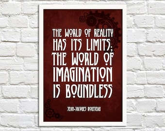 Imagination is Boundless - Steampunk Art Print Poster -Wall Decor, Inspirational Print, Home Decor, Steampunk Gift