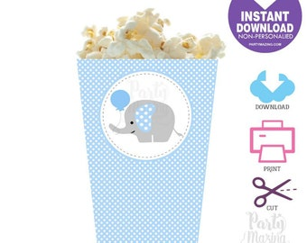 Elephant Popcorn Box Printable,  DIY Printable Party Favor Box, Instant Download BBEB1 XWZ -D681