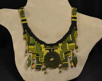 Jade with Gold Nugget Woven Necklace 877