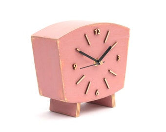 Pastel Pink Clock Table, Wood Desk Clock, Distressed Mantel clock, Shabby chic, Powder Pink decor, Dusty lilac, Spring decor, Office decor