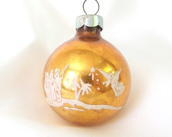 Vintage Gold USA Christmas Ornament, Shepherd and Angel Stencil Holiday Ornament