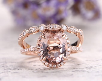 10x12mm Oval Morganite Engagement Ring,Solid 14k Rose gold wedding set,diamond promise ring for her,bridal set,marquise set matching band