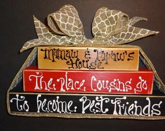 Saying blocks for Grandparents,, Home Decor,, Grandparents Gift,,Saying Blocks,,