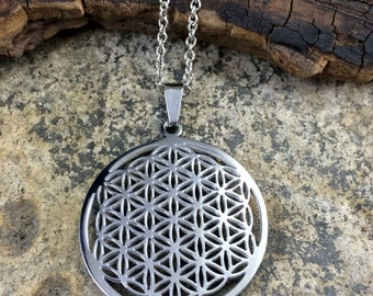 Flower of Life Necklace, sacred geometry flower of life pendant