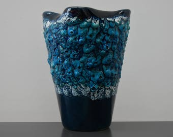 beautiful vase VALLAURIS, vintage, 60s/70s France turquoise blue and white, seafoam lava