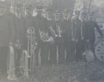 Vintage 1900's Augusta Illinois High School Band RPPC Real Photo Postcard - Free Shipping