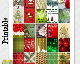 Christmas Full Box & Washi Printable Planner Stickers, December Full Box and Half Box stickers, DIY Planner Printables INSTANT DOWNLOAD Pdf