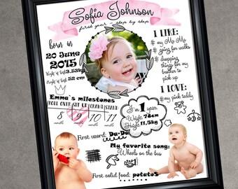 Custom Infographic Poster- Personalised Infographic Print- Photo Birth Announcement- Custom Print- Printable File- Digital File- 8x10