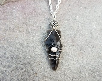 Ancient Native American Indian Obsidian Arrowhead Wire Wrapped Pendant With Freshwater Pearl