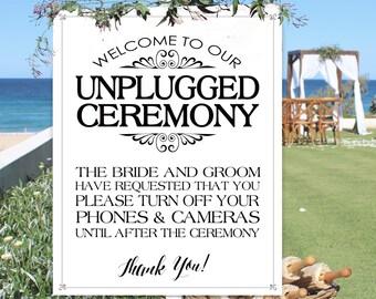 Unplugged Ceremony Poster - INSTANT DOWNLOAD - Black & White Wedding Art, No Social Media Sign, NO Cameras, No Phones, Wedding Poster