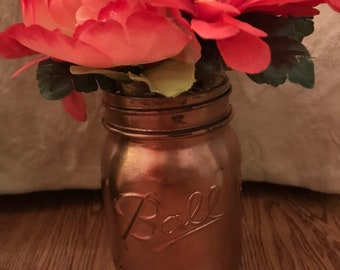 Rose Gold Mason Jar with 5 Light and Love Pens