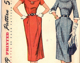 1950's UNCUT Round Neck Women's One Piece Dress With Detachable Collar and Cuffs Vintage Sewing Pattern Simplicity 8406 Bust 36 RF0049
