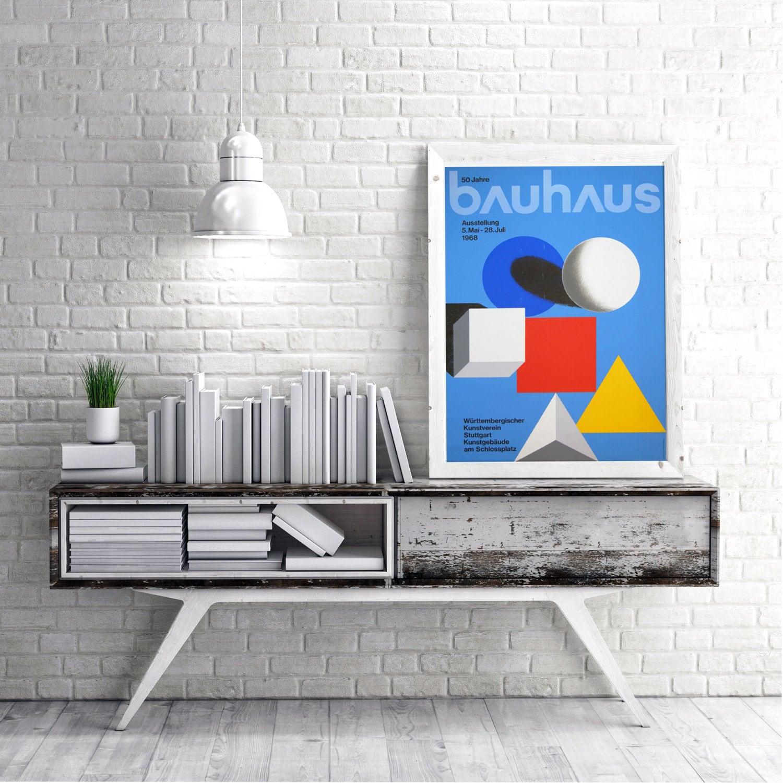 Bauhaus Mid Century Graphic Design Print Graphic Design History Poster Wall  Art German Artwork Famous Modern Red Yellow Blue Home Decor
