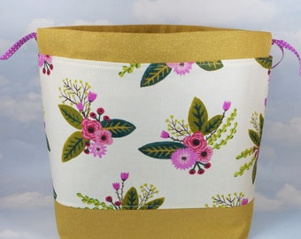 Floral bouquet large drawstring project bag with contrast base.