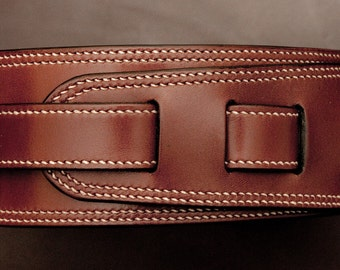 Hand made and stitched leather guitar strap (65mm)