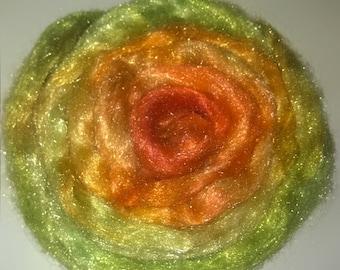 Firestar 1oz - Poppy Fields - sparkling fiber for spinning felting blending - orange yellow green