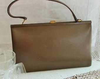 Vintage, 1950's Leather Handbag/Leather Pocket Book/1950's Handbag/Quality Handbag/SALE (10588)