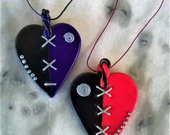 Sewed Heart/handmade pendant