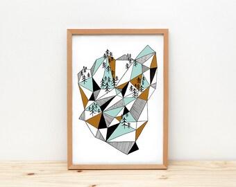 Geometric mountain art print, illustration by depeapa, geometric print, mountain wall art, A4 poster, wall decor, modern home decor