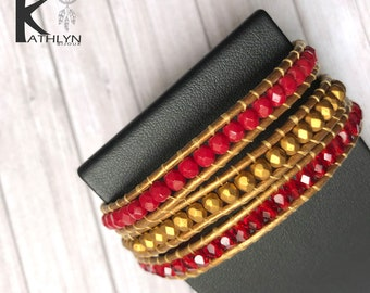 Wrap bracelet triple red and gold