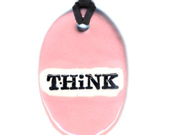 Think Ceramic Necklace in Baby Pink