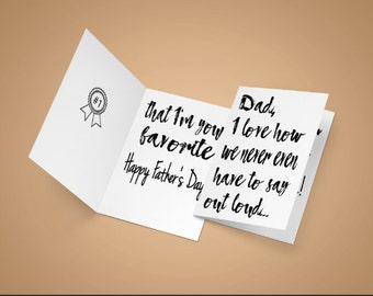 Fathers Day card, from your favorite, dad card, fathers day