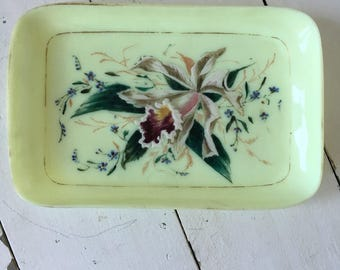 Antique Green Milk Glass painted flowers