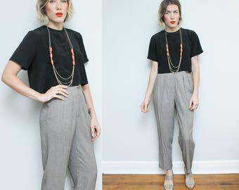 High Waist Houndstooth Pants // 90s Tapered Black White Ann Taylor Trousers // Size 6 Small Pleated Dress Pants