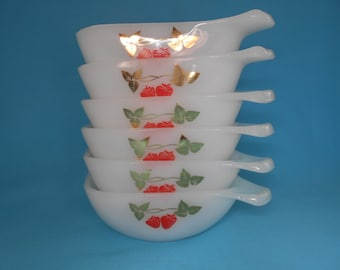 "Vintage Agee Crown Pyrex ""Strawberry Fair"" Ramekins Set of Six 1960's   #10206"