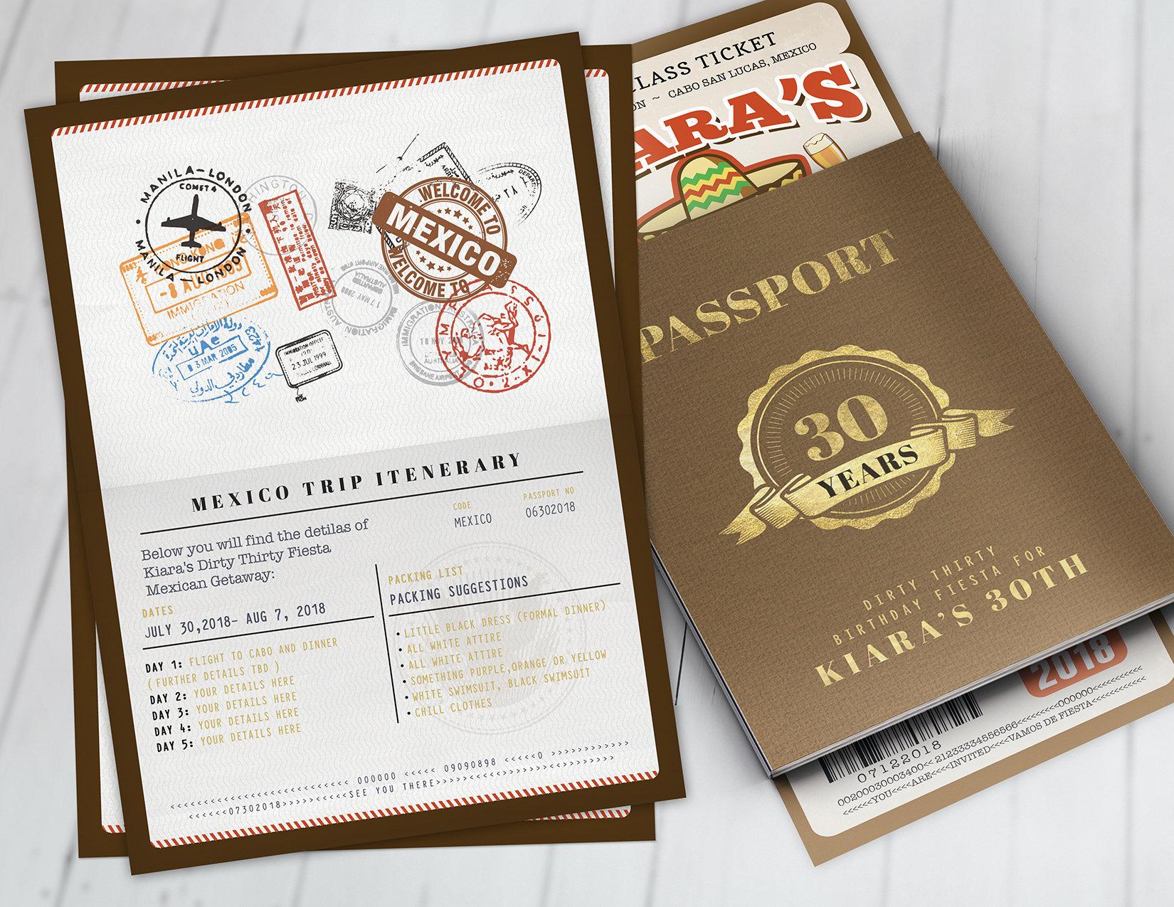 Passport and ticket birthday invitation, travel birthday party ...