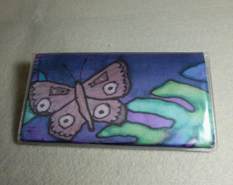 """Checkbook Cover """"Butterflies and Tropical Leaves"""", Hand Painted Silk Art Check Cover, Purple Checkbook Cover"""
