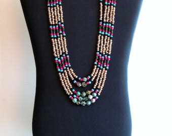 Native American necklace, Turquoise Necklace, Native American Jewelry, Beaded Necklace, Statement necklace, Multistrand Necklace