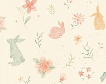 Bunny Tales Cream Bunnies Print Flannel