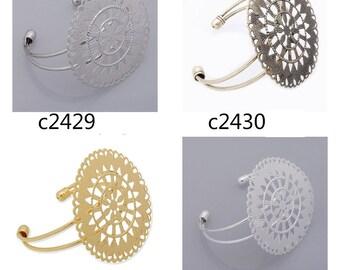 10PCS Bracelet With 55mm pad, Adjustable,cuff bracelet blank, Brass Bracelet