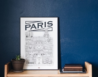 Paris / 32x45 cm / Docteur Paper / Travel With Me / Illustration / travel / Poster / City / Wall Decor / Black and White / Map / Design