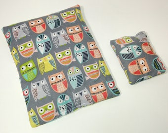 Owls on Gray Microwavable Heating Pad Set - comfort bag;heat therapy;cooling pack; square heating pad; tummy warmer
