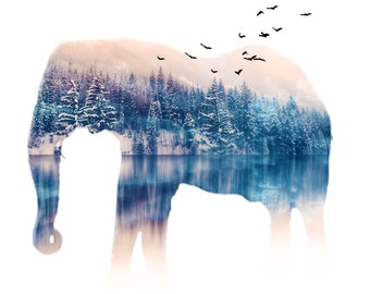 Elephant Double Exposure, Surreal Digital Art, Abstract, Landscape Reflection, High Quality Giclee Print, Nature, Birds, Animals, Wall Art