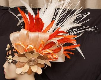 Tahitian & Cook Islands Headpiece Or Headdress. Authentic Tapa Cloth, Cowrie Shell, Niau, Lauhala And Hau Bark Headpiece. For All Ages.