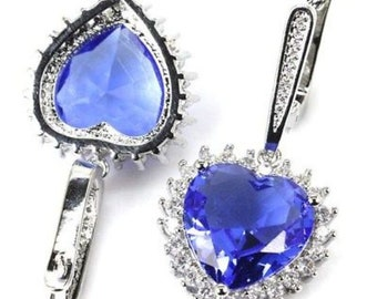 Sterling Silver Rich Blue Violet Tanzanite Gemstone Drop Heart Earrings With AAA CZ Accents
