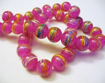 Drawbench Glass Beads Hot Pink Round 10MM