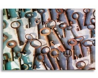 Paris Flea Market Photograph on Canvas - Vintage Keys, Gallery Wrapped Canvas, Large Wall Art