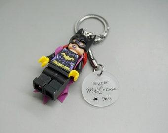 """porte clé Lego SuperWoman cabochon """"Super Maîtresse"""" avec prénom personnalisable - teacher gift"""