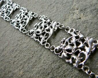 Peruzzi Bracelet,Vintage Peruzzi Jewelry,Italian Silver,Vintage Silver Bracelet,Renaissance Revival Jewelry,Fratelli Coppini,800 Silver Cuff