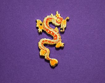 Dragon Chinese Zodiac Pin with Rubber Clasp // Hard Enamel, Cloisonne, Accesories, Flair