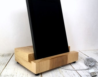 Tablet stand, charging stand, iPad charging stand, iPad Mini stand, tablet display stand, double phone stand, docking station, hickory.