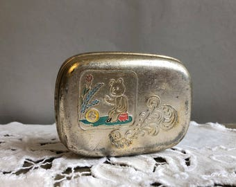 Vintage Soviet Soap Dish. Metal Soap Dish Box. Travel soap container box. USSR the 1970s