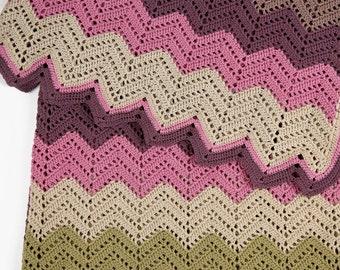 Knitting chevron blanket, Stripe crochet blanket, Zig Zag blanket, Crochet blanket cover, Blanket nursery, Handmade blanket