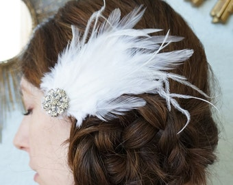 Romantic White or Ivory Bridal Wedding Hair Clip Ostrich Feather Rhinestone Fascinator MARY LOU Headpiece Custom Bridesmaid Colors Available