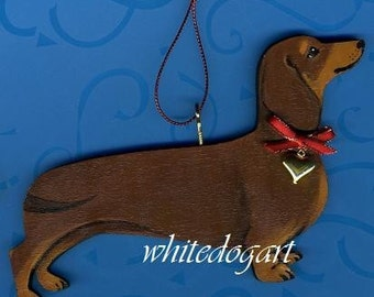 Brown and Tan Dachshund Christmas Ornament